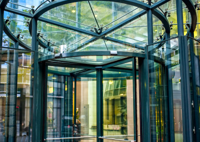 modern secured glass door at corporate business building
