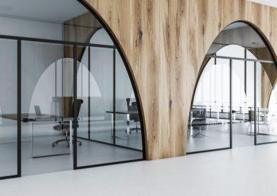Light wooden office meeting room, lobby
